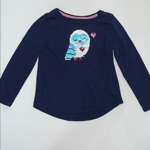 Sonoma Girls Blue Top, Sequin Owl Size 5
